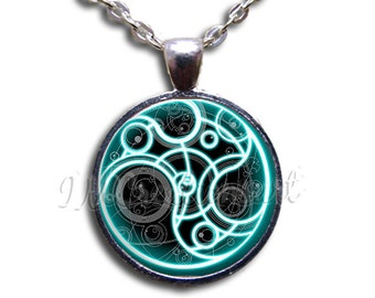 Dr Who Time Seal Dome Pendant or with Chain Link Necklace FT114