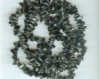 Black Chip Beads, 5mm to 8mm Blackstone Gemstone Chip Spacer Beads 35 Inch Black Stone Spacers