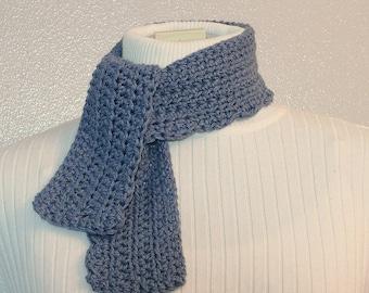 Small Crochet Scarf in Faded Denim Blue