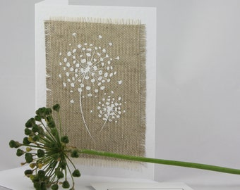 Handmade greetings card, blank for own message, natural hessian screen printed alium art