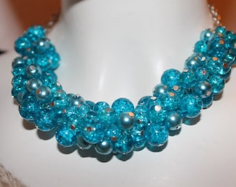Blue beaded Jewelry, blue beaded necklace, blue pearl jewelry, blue pearl necklace, blue jewelry, blue necklace, necklace blue pearl, blue