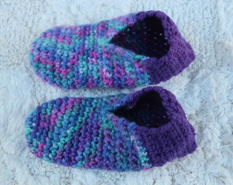 Children's Handmade Multi color children's crochet slippers