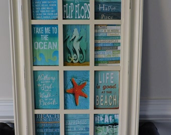 Beach Decoration, Beach Decor, Beach House, Decoupage, Beach Sign, Beach Wall Hanging, Beach Picture, Home Decor, House Decor