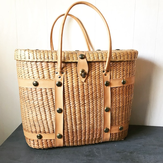 vintage woven raffia purse - large straw market tote - travel bag - carry on luggage - boho diaper bag