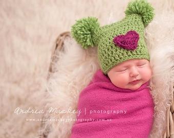 Pom Pom Hat, Baby Girl Valentines Day, Heart Hat, Valentines Day Hat, Baby Girl Clothes, Baby Girl Hat, Baby Pom Pom Hat, Baby Girl Knit Hat