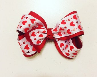 Valentines hairbow, Red Hearts on hearts hair bow, red valentines hair bow
