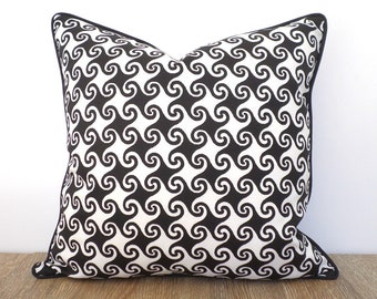 Black and white throw pillow case, black outdoor pillow cover, swirl outdoor cushion modern front porch decor