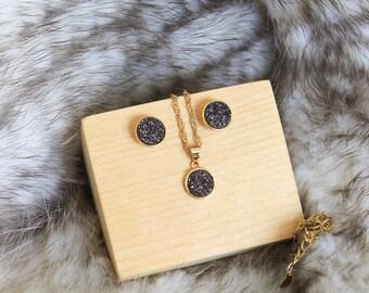 Valentines day Gift Druzy Jewelry set/Druzy Set/Druzy Stud Earring/Gold Necklace/Druzy Necklace/Jewelry Set/Gemstone Jewelry set