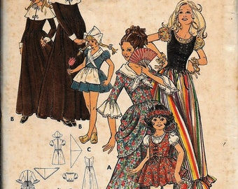 Vintage 70s Butterick 5979 Pilgrim, Colonial, Gypsy, Dutch Costume Pattern Size 8 Bust 27