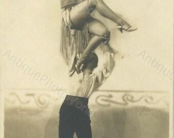 Couple dancing Art Deco costumes antique photo