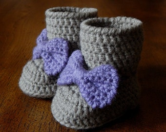 Baby Boots : Big Bow Boots Newborn-3 Months, 3-6 Months, 6-12 Months, 12-18 Months