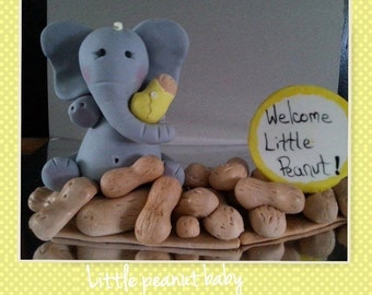Welcome Little Peanut Elephant edible Cake Topper