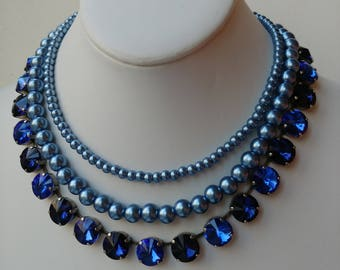 Multistrand pearl and crystal boho choker necklace,blue wedding necklace,sapphire crystal necklace, necklace for bridesmaid,mother of bride