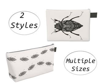 Bugs Insect Pouch Carry All, Zippered Clutch, Big Large, For Makeup Cosmetics Toiletry Diaspers Laptops Tablet, Travel Organizer Black White