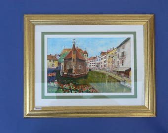 Watercolor of Annecy old: framed and under glass