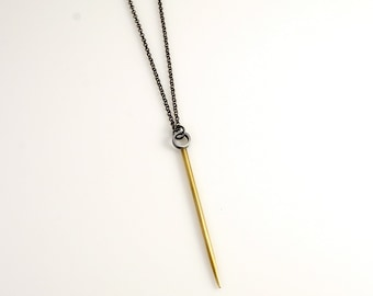Long Silver & Brass Spike Necklace, long necklace, spike necklace, needle necklace, mixed metals, mixed metal jewelry