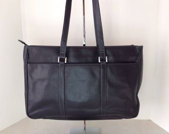 Black Leather Business Tote