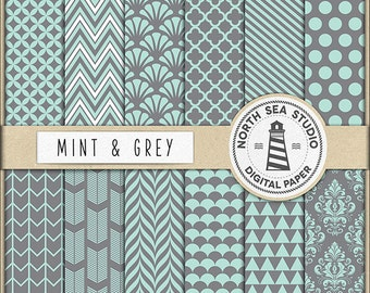 Mint Adn Grey Digital Paper Pack | Scrapbook Paper | Printable Backgrounds | 12 JPG, 300dpi Files | BUY5FOR8