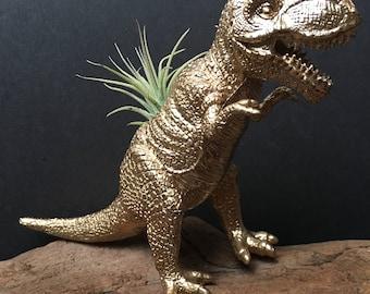 Gold T Rex Dinosaur Air Plant Holder - dinosaur planter - dinosaur gifts - office gift - tillandsia holder - dinosaur decor