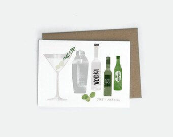 Vodka Dirty Martini A6 Card