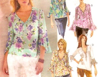 Boho pullover blouse casual chic sewing pattern McCalls 4037 Size Size XS to Medium UNCUT