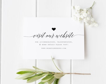 Wedding Website Card Insert Template Editable website card DIY