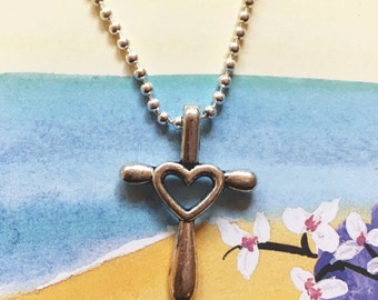 Silver cross with a heart in the center, cross necklace, free shipping, beautiful silver heart cross, 24 inch silver ball chain