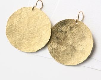 Gold Disc Earrings, Raw silk texture dangle earrings, large geometric earrings, minimalist earrings, circle earrings handmade gift for her,