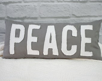 PEACE Applique Word Pillow Dark Gray Canvas  White Tattered Letters Shabby Ragged Decorator Complete Pillow 10 x 22