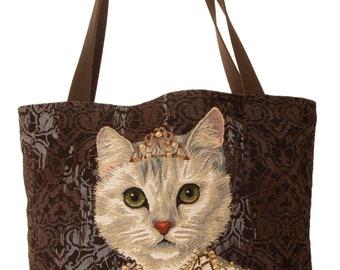 tapestry tote bag - cat design tote bag - cat portrait bag - royal cat portrait bag