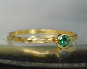 Dainty Solid 14k Gold Emerald Ring, 3mm Gold Solitaire, Solitaire Ring, Solid Gold, May Birthstone, Mothers RIng, Solid Gold Band, Gold