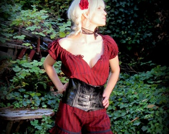 Steampunk Peasant Blouse ~ Pirate Shirt ~ Striped Renaissance Gypsy Victorian Cosplay ~ Halloween Costume Red Black Steampunk clothing