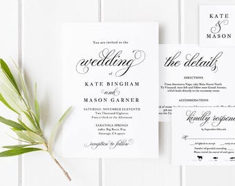 Printable Wedding Invitation Template, Wedding Invitation Set, DIY Wedding Cards, Download, Modern Calligraphy, Rustic Wedding #SPP014iiwis