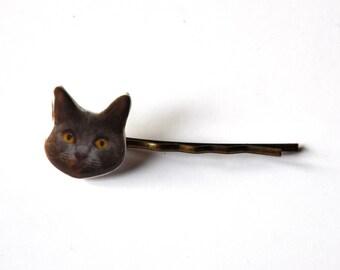 Barrette girly photo portrait de Tete de Chat Chartreux gris; cabochon resine fait-main