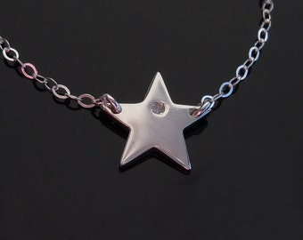 Diamond Star Necklace in Sterling Silver - New