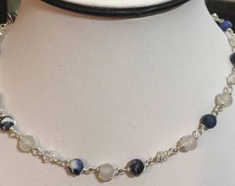 Moonstone, Sodalite, and  Swarovski Crystals necklace