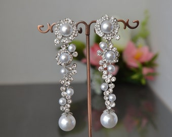 "Earrings ""special charm"",Wedding long earrings with pearls."