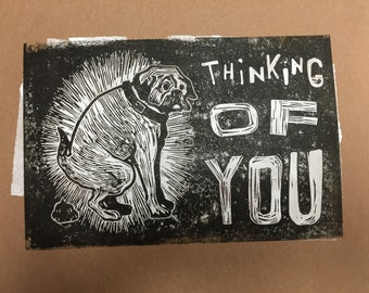 thinking of you signed and numbered linoleum block print by charles state