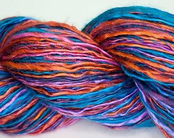 Sunset Silk - 378 yards handspun tussah silk dk weight single spun yarn blue orange