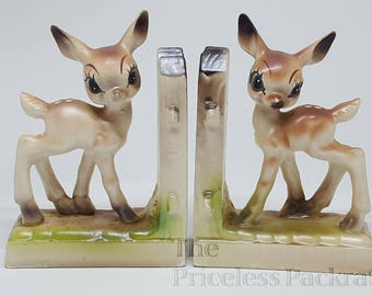 Vintage Bookends, Deer with Picket Fence, VERY RARE, Made in Japan