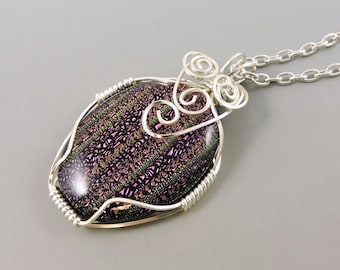 Wire Wrapped Necklace, Dichroic Glass Necklace, Dichroic Glass Jewelry, Purple necklace