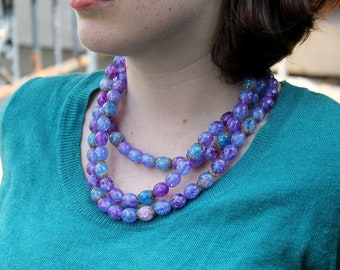 Costume 3 strand Purple Sparkle Necklace
