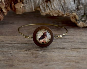Owl bracelet, Owl jewelry, Forest bird bracelet, Owl bangle, Woodland bracelet, Hooter bracelet, Bird of night bangle, Animal jewelry WJ 003