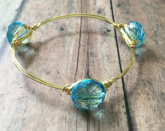 Blue wire wrapped stackable mix and match bangle