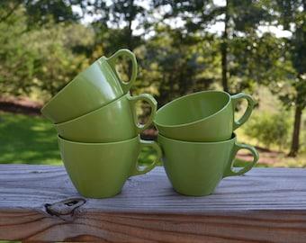 Vintage Olive Green Melmac Coffee / Tea Cups