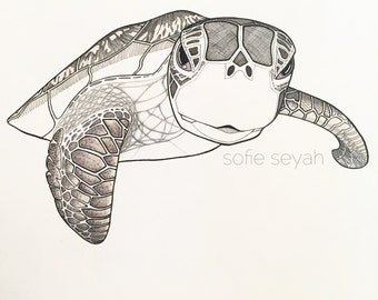 Black and White Hawksbill Turtle Illustration - Sofie Seyah Greeting Card