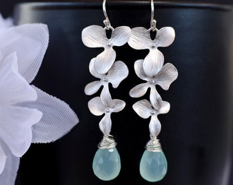 Triple Orchid Earrings, Silver Earrings, Matte Rhodium Plated Triple Orchid and Aqua Blue Chalcedony Earrings, Bridesmaid Gift
