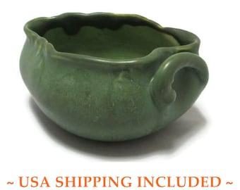 Antique Hampshire Pottery Co. Bowl, Matte Green Glaze,  Arts & Crafts Era