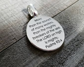 Word Charm Quote Charm Word Pendant Silver Word Charm PSALMS Charm Bible Quote Charm Bible Words Charm Silver Word Pendant PREORDER
