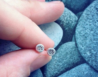 Handmade fine silver Lotus flower stud earrings